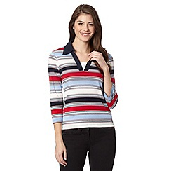 Maine New England - Light blue colour block stripe top