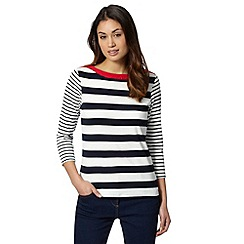 Maine New England - Red striped colour block top