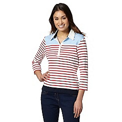 Maine New England - Light blue striped colour block collar top