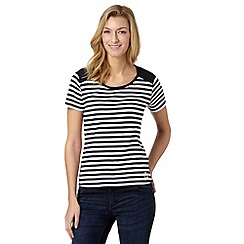 Maine New England - Navy striped lace shoulder t-shirt