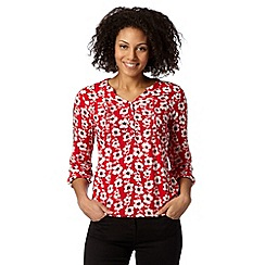 Maine New England - Red poppy print top