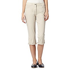 Maine New England - Natural cropped soft stretch trousers