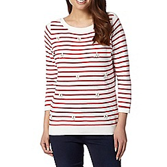 Maine New England - Red striped embellished jumper