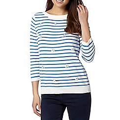 Maine New England - Bright blue striped embellished jumper