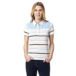 Maine New England - Light blue multi stripe collared top