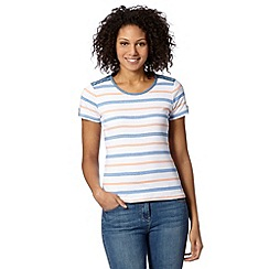 Maine New England - Blue striped chambray trim top