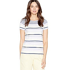 Maine New England - Navy striped and spotted t-shirt