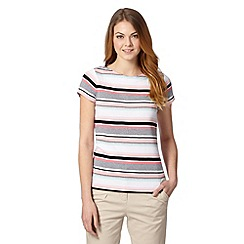 Maine New England - Pale pink multi striped button shoulder t-shirt