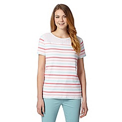 Maine New England - Pale pink striped broderie yoke t-shirt