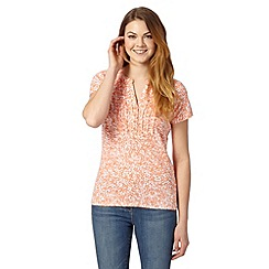 Maine New England - Orange floral printed ruffle sleeve top