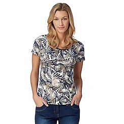 Maine New England - Navy palm leaf printed t-shirt