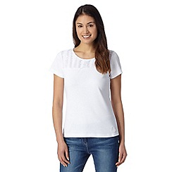 Maine New England - White pleated trim t-shirt