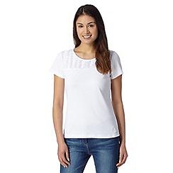 Maine New England - White pleated trim t-shirt