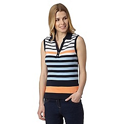 Maine New England - Light orange multi stripe collared top