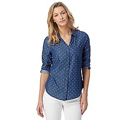 Maine New England - Mid blue spotted denim shirt