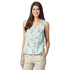 Maine New England - Pale green floral drawstring hem top
