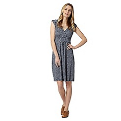 Maine New England - Navy shell print jersey wrap dress