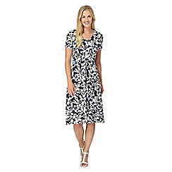 Maine New England - Navy floral V neck dress