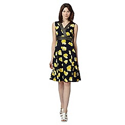 Maine New England - Navy lemon print wrap dress