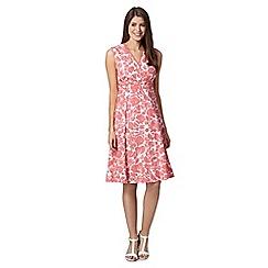 Maine New England - Pink floral wrap V neck dress