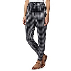 Maine New England - Navy geometric tiled jersey trousers