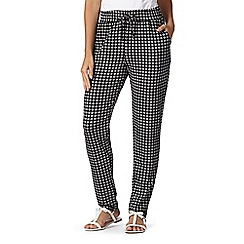 Maine New England - Black geometric tiled jersey trousers