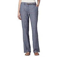 Maine New England - Dark blue chambray linen blend trousers