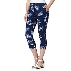 Maine New England - Navy rose print cropped sateen trousers