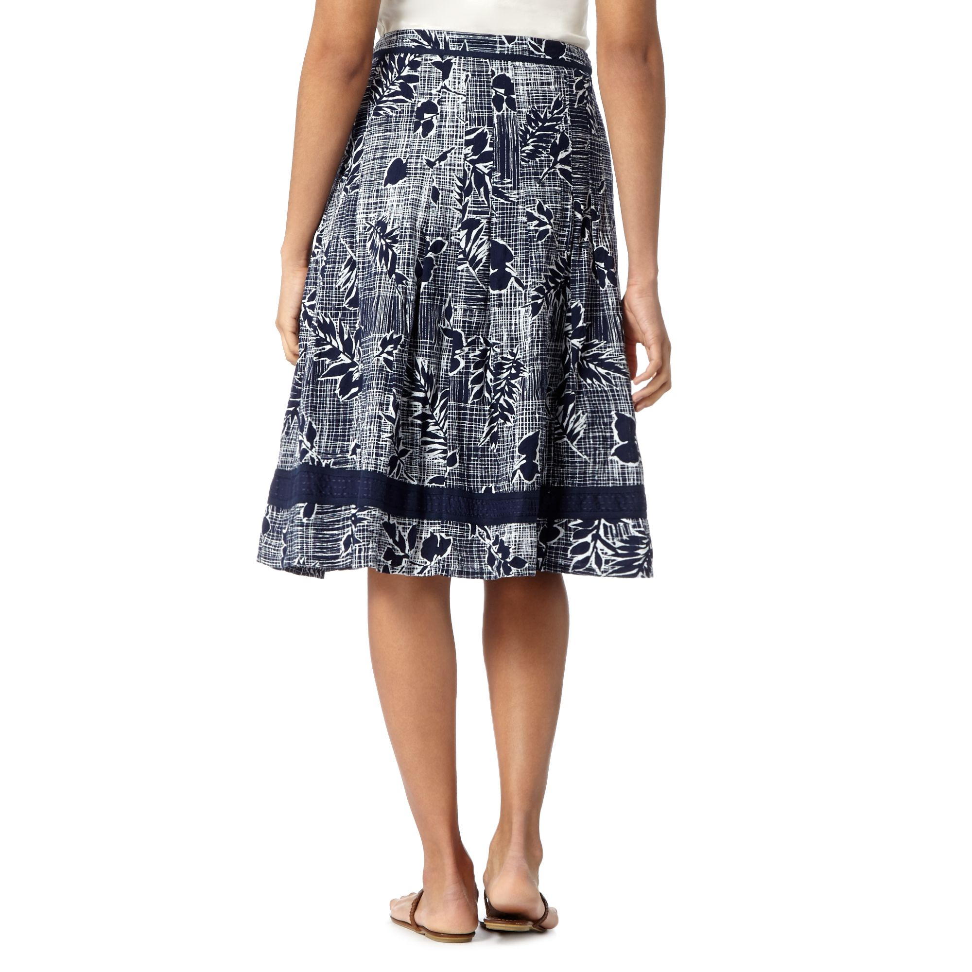 maine new womens navy checked floral skirt from