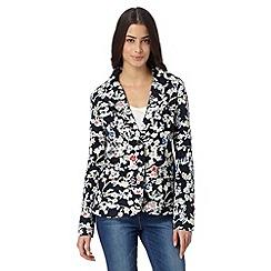 Maine New England - Navy floral print linen blend blazer