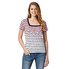 Maine New England - White striped flower square neck top