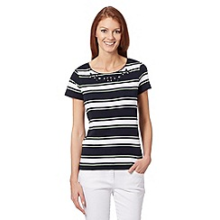 Maine New England - Navy block striped jewel top