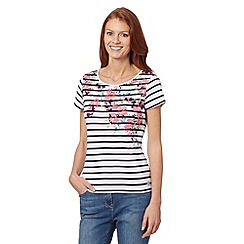 Maine New England - Navy striped floral t-shirt