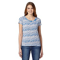 Maine New England - Bright blue floral rope detail t-shirt