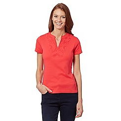 Maine New England - Bright pink applique neck top