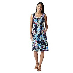 Maine New England - Navy tropical jersey dress