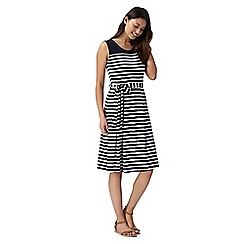 Maine New England - Navy striped sleeveless jersey dress