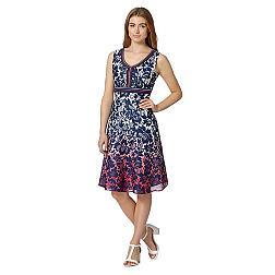 Navy ombre floral V neck dress