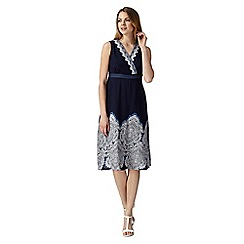 Maine New England - Navy sleeveless border wrap dress