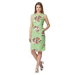 Bright green painted bouquet print shift dress