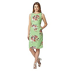 Maine New England - Bright green painted bouquet print shift dress