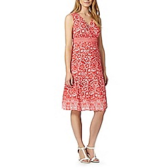 Maine New England - Bright red floral print wrap dress