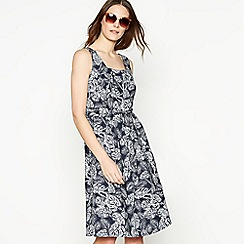 Maine New England - Navy dragonfly print tie back dress