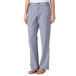 Maine New England - Blue striped linen blend trousers
