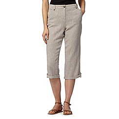 Maine New England - Taupe linen blend herringbone cropped trousers
