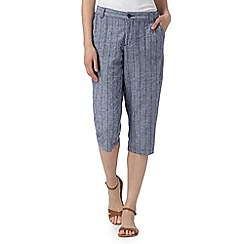 Maine New England - Blue striped linen blend cropped trousers