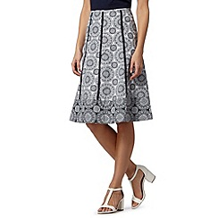 Maine New England - Navy circle mixed print skirt