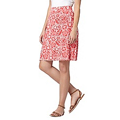 Maine New England - Bright pink floral print knee length jersey skirt