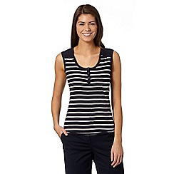 Maine New England - Navy striped broderie striped vest