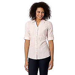 Maine New England - Pale pink embroidered bib front linen blend shirt